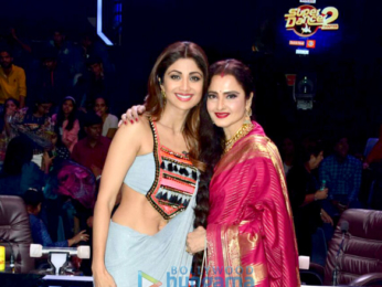 Rekha snapped on the sets of Super Dancer 2