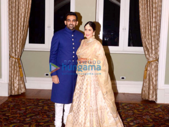 Zaheer Khan and Sagarika Ghatge arrive at their wedding reception