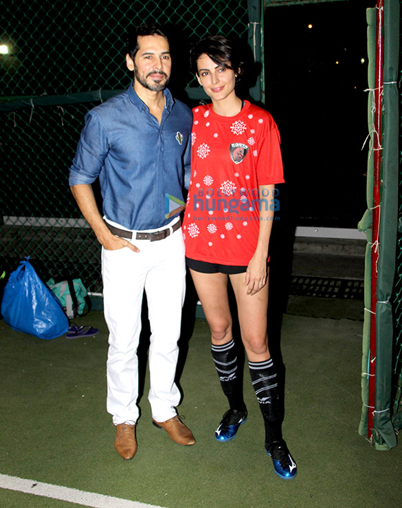Dino Morea and Mandana Karimi spotted at a football event