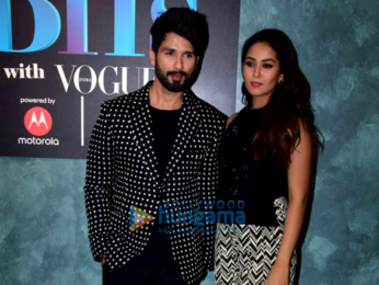 Shahid Kapoor, Neha Dhupia and Mira Rajput on the sets of Vogue BFFs