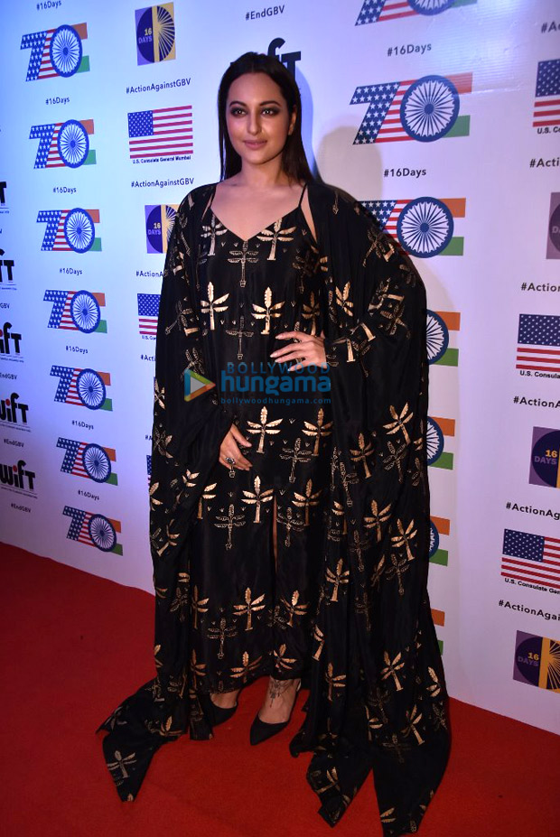 Sonakshi Sinha slays it in her black dress and overcoat; talks about gender violence