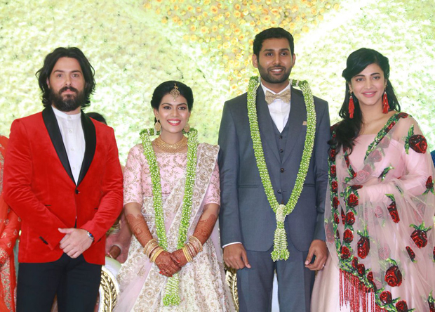 Spotted Shruti Haasan attends a friend's wedding with father-superstar