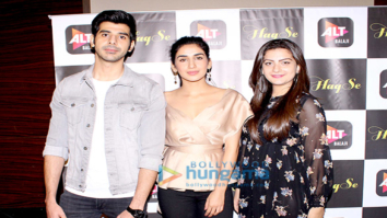 Cast of the web series Haq Se snapped during media interactions