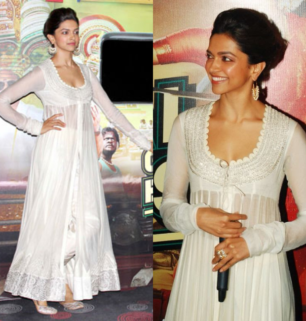 Deepika Padukone in Anamika Khanna at Chennai Express trailer launch