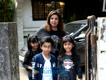 Farah Khan with her kids at Kromakay in Juhu for their birthday bash