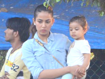 Shahid Kapoor's wife Mira Rajput snapped with their daughter Misha Kapoor at a garden in Bandra