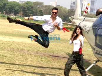 Tiger Shroff and Disha Patani arrive in a helicopter for the trailer launch of 'Baaghi 2'
