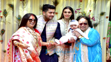 Bappi Lahiri and Chitrani Lahiri attend the rice ceremony of their grandson Krishh Lahiri