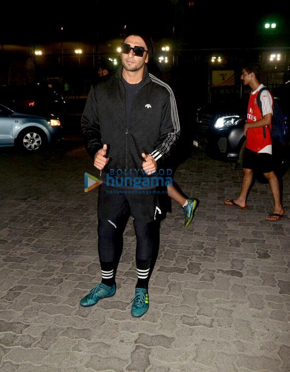 Ranveer Singh and Dino Morea snapped at football ground in Bandra