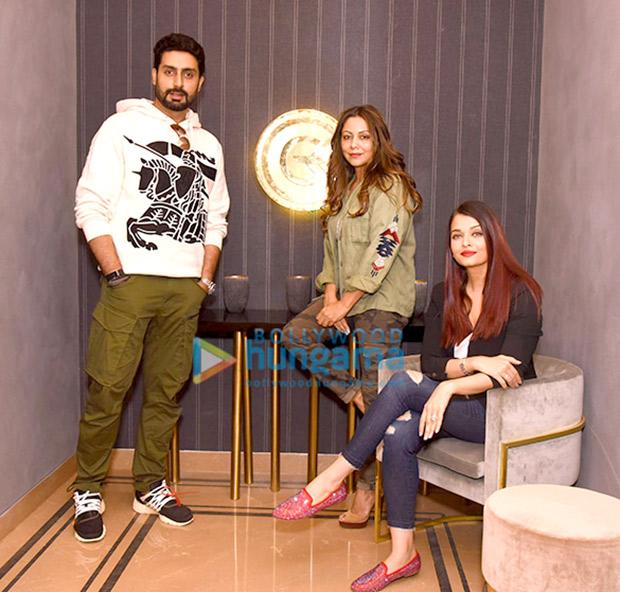 Aishwarya Rai Bachchan and Abhishek Bachchan with Manish Malhotra with Gauri Khan