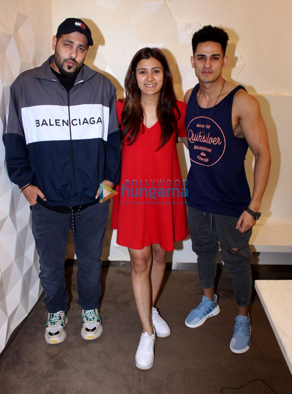 Priyank Sharma, Astha Gill and Badshah snapped promoting their song