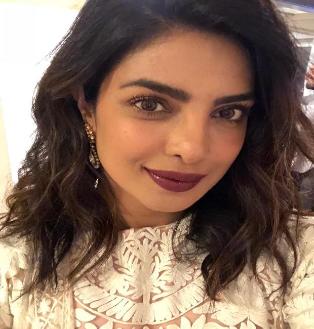 Priyanka Chopra flaunts bright lips and delicately lined eyes
