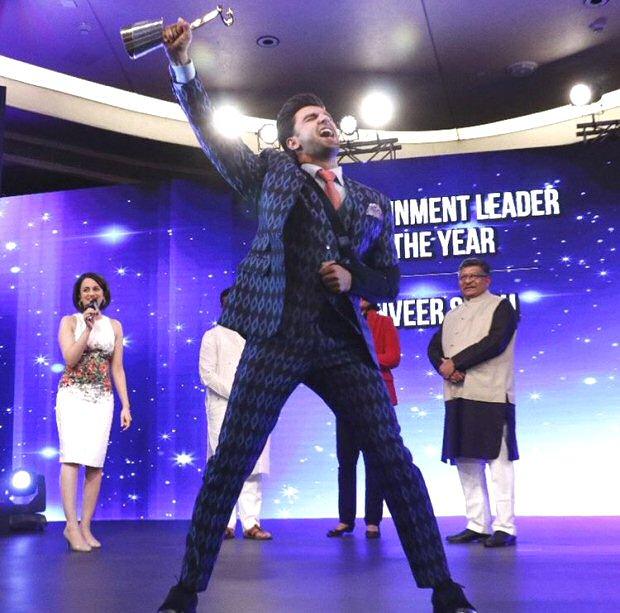 Ranveer Singh just won the Entertainment leader of the year award and he can't keep calm