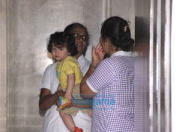Taimur Ali Khan snapped at Soha Ali Khan's residence