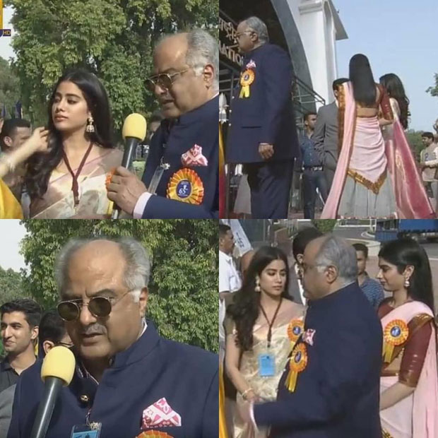 Boney Kapoor, Janhvi Kapoor and Khushi Kapoor receive Best Actress Award for Mom on behalf of late Sridevi