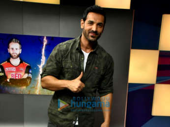 John Abraham snapped on sets of Kent Cricket Live promoting his film Parmanu
