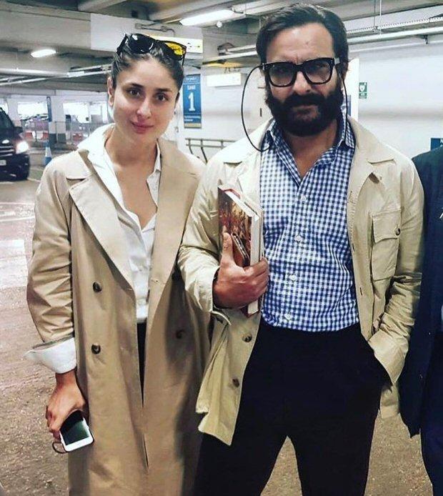 Kareena Kapoor Khan and Saif Ali Khan twin in beige trench coats in London