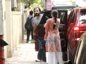 Saif Ali Khan and Sara Ali Khan snapped at Abhishek Kapoor's office in Khar