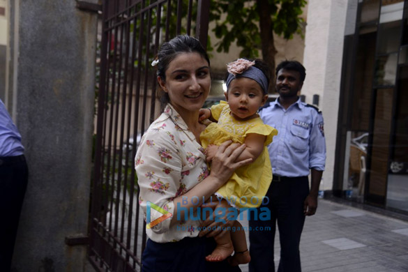 Soha Ali Khan snapped with her daughter Inaya in Bandra