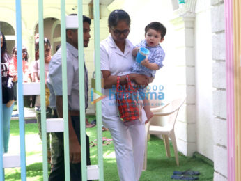 Taimur Ali Khan and Lakshya Kapoor snapped at their play school