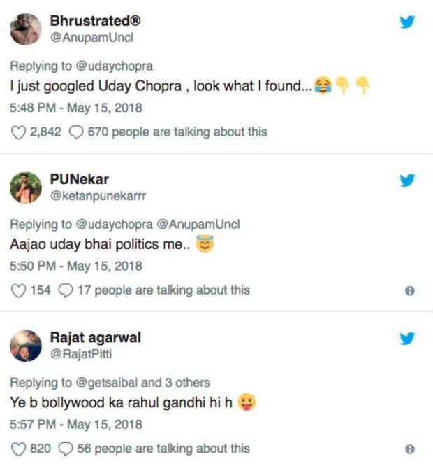 Uday Chopra gets TROLLED for his all guns blazing tweets on Karanataka elections