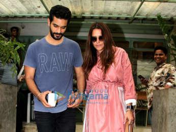 Neha Dhupia and husband Angad Bedi snapped at Kitchen Garden in Bandra