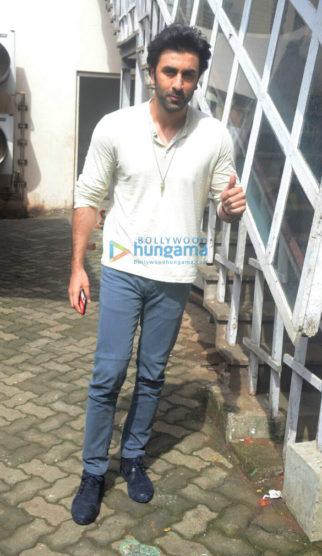 Ranbir Kapoor, Vidhu Vinod Chopra and Rajkumar Hirani promote Sanju at Mehboob Studios in Bandra