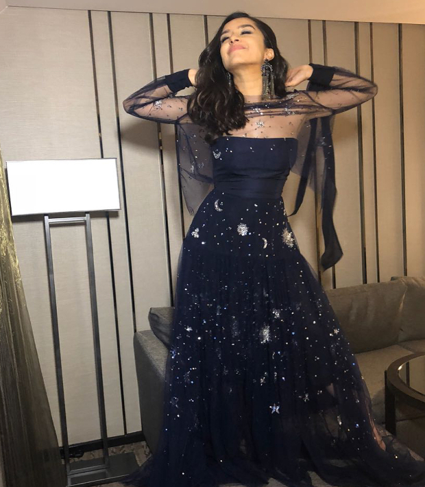 Shraddha Kapoor in a midnight inspired gown at IIFA Rocks