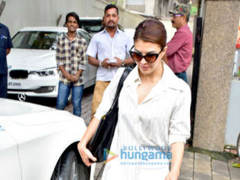 Jacqueline Fernandez and Ramesh S Taurani snapped at the TIPS Films office in Bandra