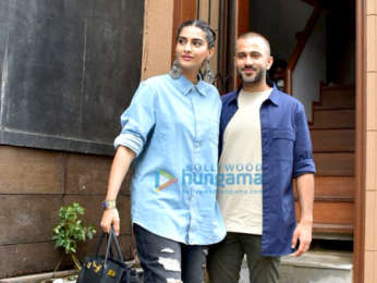 Sonam Kapoor Ahuja and Anand Ahuja snapped at their new store in Bandra
