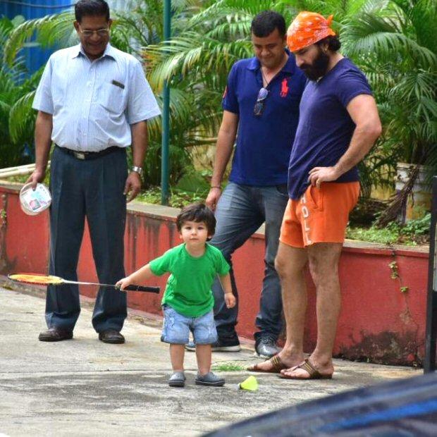 Saif Ali Khan indulges Taimur in a game of badminton as mommy Kareena Kapoor is away on a gym run (see pics)