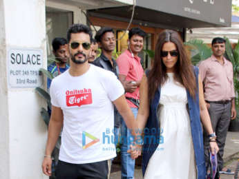 Neha Dhupia and Angad Bedi spotted at Sequel cafe in Bandra