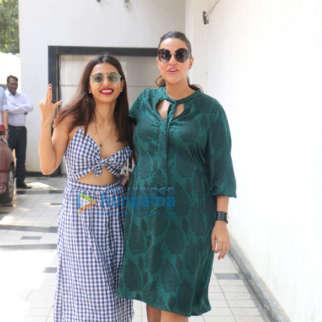 Radhika Apte and Neha Dhupia snapped on sets of the show #NoFilterNeha Season 3