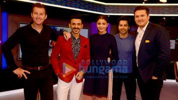Varun Dhawan and Anushka Sharma visits Star Sports studio to promote the film 'Sui Dhaaga - Made in India' on Nerolac Cricket Live
