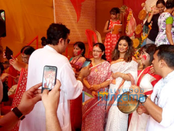 Tanushree Dutta snapped during Durga Puja celebrations