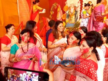 Tanushree Dutta snapped during Durga Puja celebrations