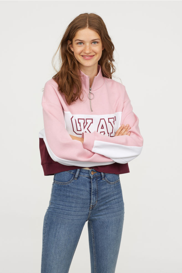 H&M Colourblocked OKAY Sweatshirt (2)