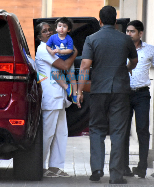 Taimur Ali Khan snapped at Amrita Arora's residence in Bandra