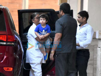 Taimur Ali Khan snapped at Amrita Arora's residence in Bandra