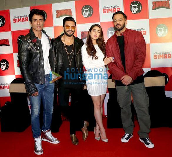 Ranveer Singh, Sara Ali Khan, Rohit Shetty, Sonu Sood snapped at press meet of Simmba at JW Marriott in Juhu
