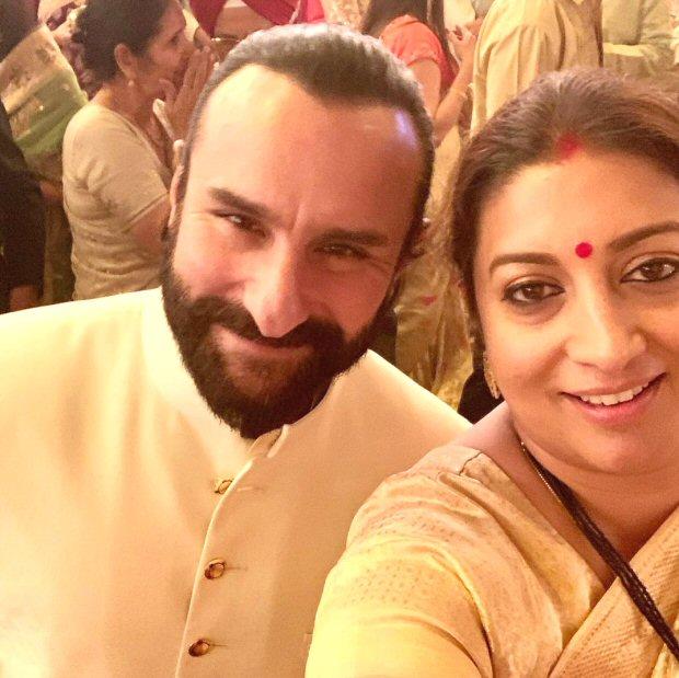 Smriti Irani clicks a selfie with Saif Ali Khan, reveals the advice he gave her 23 years ago