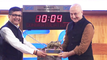 Anupam Kher Rings Bombay Stock Exchange Bell to Promote his film 'The Accidental Prime Minister'