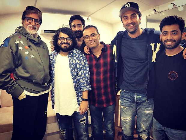 Brahmastra duo Ranbir Kapoor and Amitabh Bachchan reunite in this happy picture with music composer Pritam