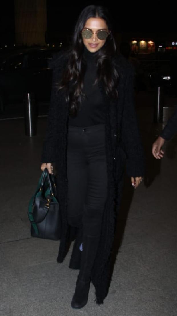 Deepika Padukone in all black at the airport (1)