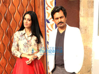 Nawazuddin Siddiqui and Amrita Arora snapped during media interactions for the film Thackeray at Sun n Sand Hotel in Juhu