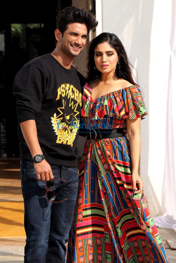 Sushant Singh Rajput and Bhumi Pednekar snapped during interviews for their film Sonchiriya at Sun n Sand in Juhu