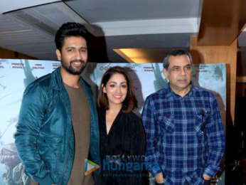 Vicky Kaushal, Yami Gautam and Paresh Rawal snapped promoting Uri in Juhu
