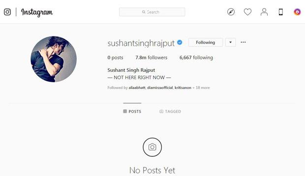Sushant Singh Rajput DELETES all his Instagram posts