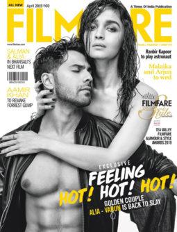 Varun Dhawan and Alia Bhatt on the cover of Filmfare, Apr 2019