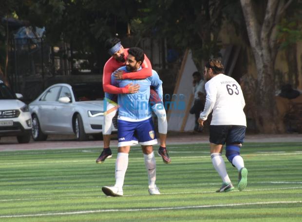 Abhishek Bachchan gives Ranbir Kapoor a piggyback ride during football match (See photos)